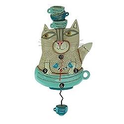Allen Designs TeaCat Whimsical Cat Pendulum Wall Clock