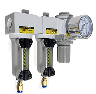 "PneumaticPlus SAU2030M-N02DG-MEP Three Stage Air Drying System - Air Particulate Filter, 0.3 Micron Coalescing Filter & Air Pressure Regulator Modular Combo 1/4"" NPT - Auto Drain, Metal Bowl w/ Sight Glass"