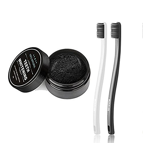Teeth Whitening Activated Charcoal Powder+2 Packs Toothbrush