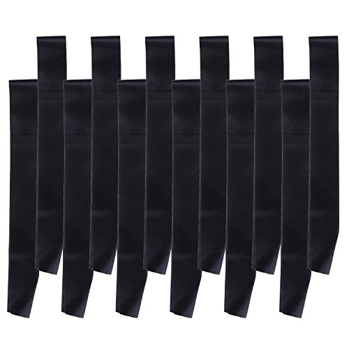 AOPOO 12 Pieces Plain Sashes Blank Satin Sashes Party Accessory Pageant Sash for Wedding Graduation Party DIY Supplies (Black)
