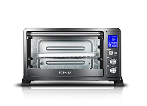 Dark stainless steel modern toaster oven with glass face.