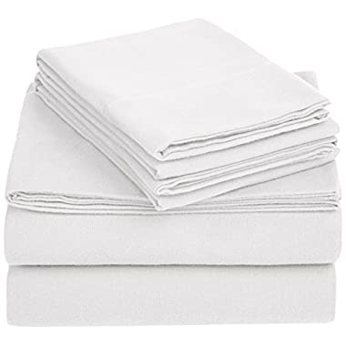 AmazonBasics Solid Lightweight Flannel Sheet Set - Full, White