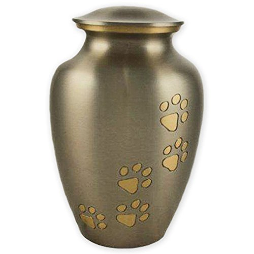(Beautiful Life Urns Pawsitive Reflection, Medium Pet Cremation Urn, Pewter/Gold)