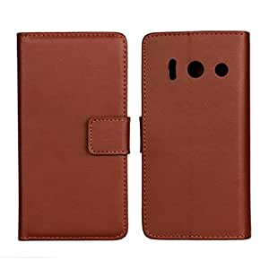Flyshell Cowskin Flip Leather Wallet Card Pouch Stand Back Case Cover For Huawei Ascend Y300 Brown