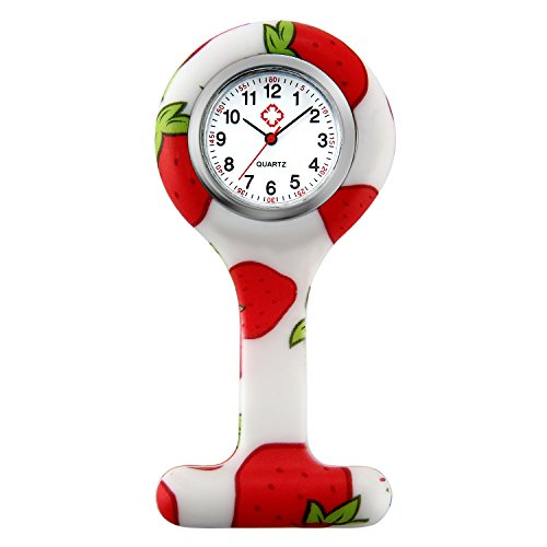 Women Nurse Watch Pin-on Brooch Medical Doctor Badge Paramedic Tomato Silicone Jelly Lapel Hanging Pocket Fob Pocket Watch from Lancardo