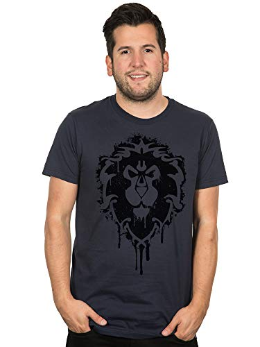 JINX World of Warcraft Alliance Crest Stencil Basic Men's Gamer Tee Shirt, Navy, Medium