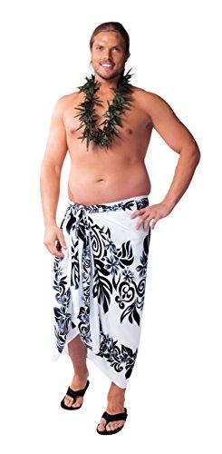 Lei 1 blanco grande negro de hombres Tahitian Sarong flecos mundo o para sin tama XqawWUTF