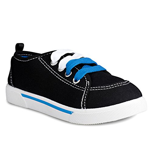 [SBN100-BLACK-T8] ShoeSox New Classic Canvas Lace Up Fashion Sneakers for Boys, Girls & - Styles 2016 Junior