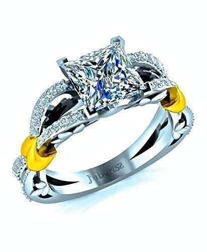 2.01 Tcw Princess Cut Foliage Diamond Engagement Ring Custom 18K Two-Tone White&Yellow Gold Intertwined Shank Designer Fine Jewelry