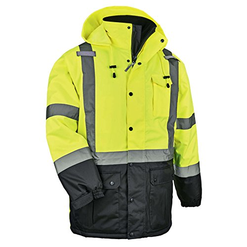 Ergodyne GloWear 8384 High Visibility Reflective Thermal Parka, Large, Lime