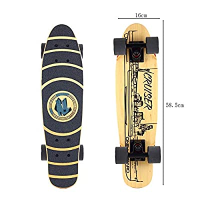 HNaGRDMMP Complete Skateboard Double Kick Concave Design Mini Cruiser 8 Layer Canadian Maple Wood Adult Tricks Skate Board for 5 Up Years Old Beginner Kids Boys Girls Gift : Sports & Outdoors