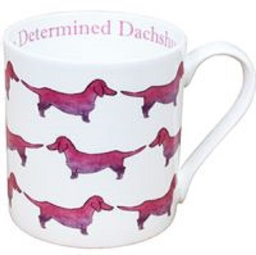 Milly Green The Determined Dachshund Large Fine Bone China Mug - Hand Decorated in UK