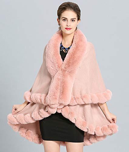 Inverno Cape Mantella Capelli Faux Pink Autunno Scialli E Maglia Donna Folobe Fur A 5xFwBY4Fq