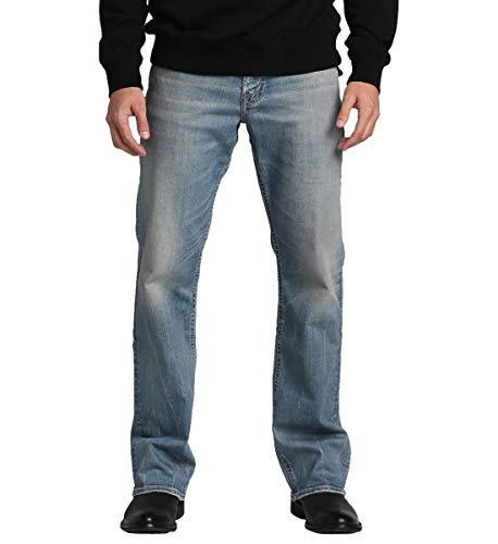 Silver Jeans Co. Men's Zac Relaxed Fit Straight Leg Jeans with Flap Pockets, Comfort Stretch Vintage wash, 36x30