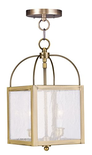 Brass Ceiling Lantern (Livex Lighting 4045-01 Milford 2-Light Convertible Hanging Lantern/Ceiling Mount, Antique Brass)