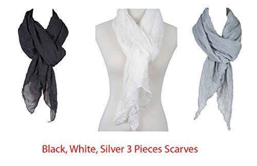 Cotton Solid Color wrinkle Linen Scarf, fashion scarf, multi color, beach scarf (3 blk_wht_slv)