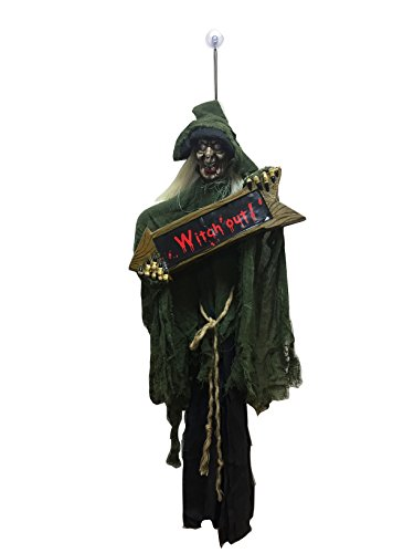 "[Hanging Witch Halloween Decoration with Sign Halloween Prop the Perfect Outdoor Halloween Decor Idea to Enjoy Your Party More, Haunt Your Guests 42""] (Outdoor Witch Decorations)"