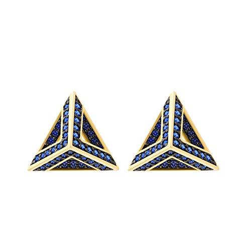 Pyramid Earring Studs, CZ Paved Gold Earrings (Capri Blue -