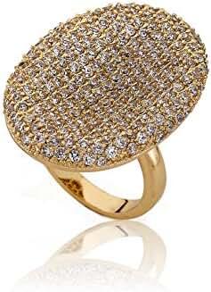 Riccova Riccova Retro 14k Gold-Plated CZ Pave Large Oval Ring