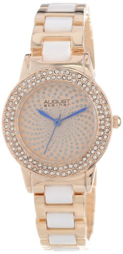 August Steiner Women's AS8052RG Crystal Glitz Ceramic Link Bracelet Watch