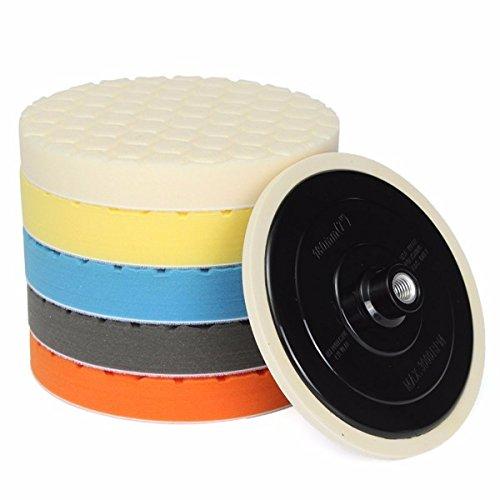 [해외]6 인치 연마 패드 키트 -7 인치 전문 다이아몬드 페이스 폼 6 인치 백 커 플레이트 패드 버프/6pcs Polishing Pad Kit-7 Inch Professional Diamond Face Foam Buffi