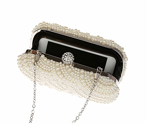 Bag by Bag Prom and Bridal Clutch Small Bag Purses Wedding Evening Women Handbags Bag White White Puluo Beads wP1xqwn