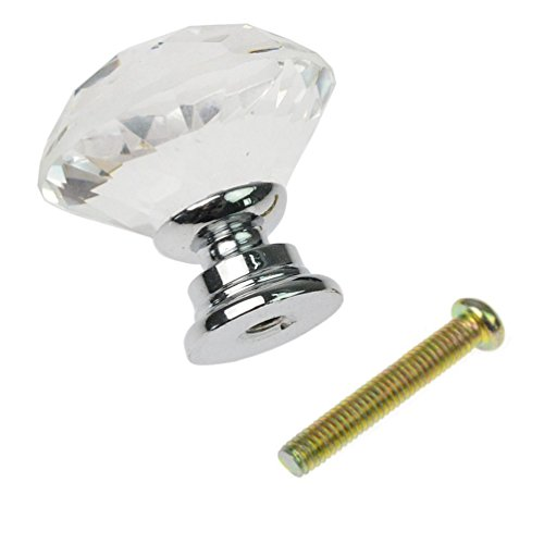 dxhycc 10 pcs crystal glass cabinet knobs 30mm diamond