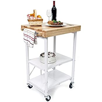 Beau Origami Foldable Kitchen Island Cart, White