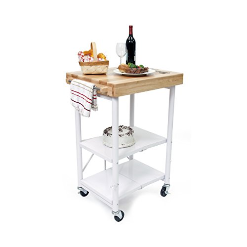 Origami Foldable Kitchen Island Cart, - Shelf Lower Butcher Block