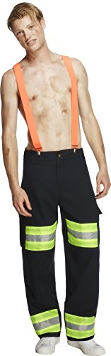Pants Black Costumes Male Adult (Smiffy's Men's Fever Male Firefighter Costume, pants and suspenders, Uniforms, Fever, Size M,)