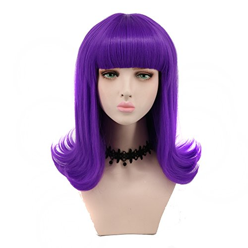 Yuehong Wig Long Big Wavy Blue Hair Women