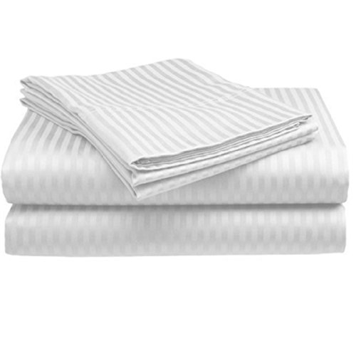 Deluxe Hotel Premium Quality 100% Cotton Sateen Stripe 300 Thread Count Sheet Set, Full Size, White Color