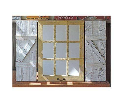 "Rustic Window Shutters (2) 11"" wide X 33"" tall for 23.5"" X 33"" Window Pane Mirror (window mirror sold separately)"