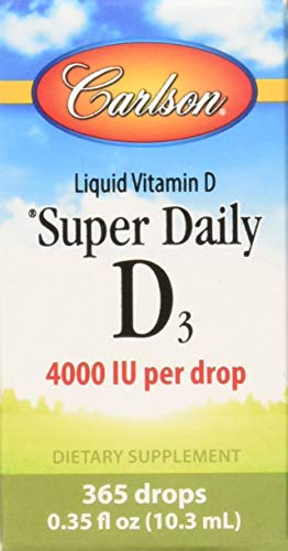 Carlson Super Daily D3 4,000 IU (100 mcg), Heart & Immune Health, Teeth & Bone Strength, Unflavored, 365 Drops