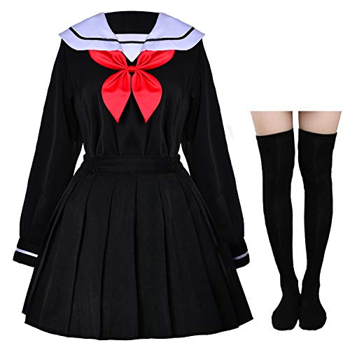 Japanese Anime School Girls Uniform Dress Sailor Suit Lolita Cosplay with red Bowtie Socks Set(M = Asia L)(SSF24)]()