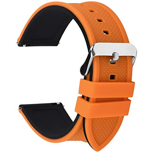 Diamonds Womens 20 Watch (Fullmosa Silicone Rubber 20mm Watch Band,8 Colors for Rainbow Quick Release Watch Strap with Stainless Steel Buckle 18mm 20mm 22mm 24mm,Pumpkin Orange Top/Black Bottom)
