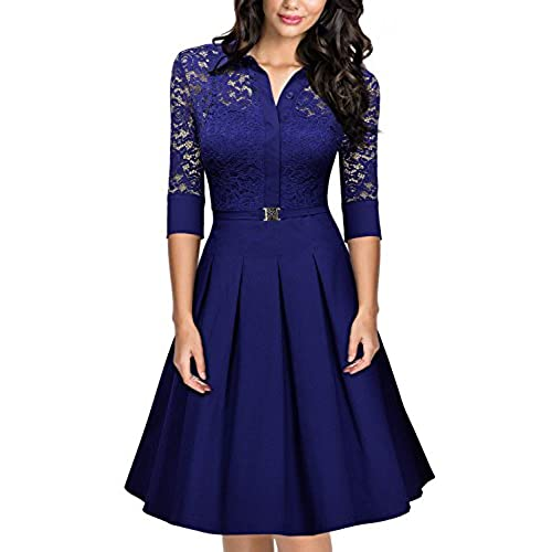 MissMay Womens Vintage 1950s Style 3/4 Sleeve Lace Flare A-line Dress (Medium,Bright Blue)