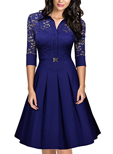 MissMay Women's Vintage 1950s Style 3/4 Sleeve Lace Flare A-line Dress (Large,Bright Blue)