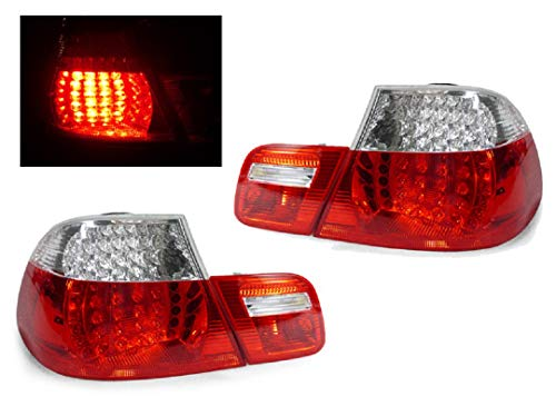 DEPO 4 Pieces Red/Clear LED Tail Lights NO ERROR Compatible Fits For 2000-2003 BMW E46 323Ci 328Ci 325Ci 330Ci M3 2DR Coupe ONLY [NO 4DR or Convertible]