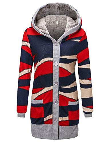Yeokou Women's Fleece Lined Button up Hooded Knit Long Printed Cardigan Sweaters (X-Small, Blue)