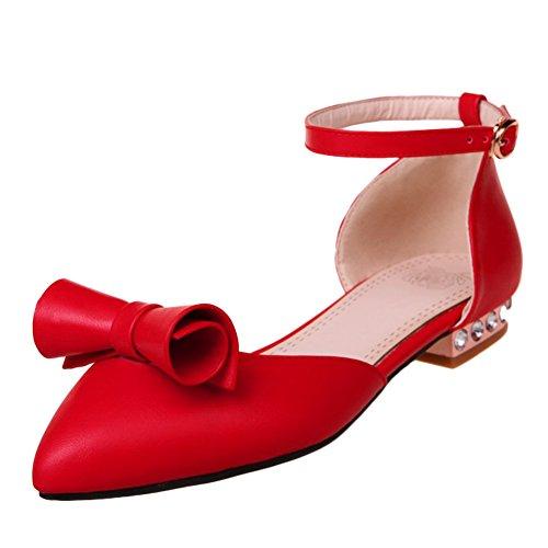 Show Shine Womens Fibbie Alla Caviglia Archi Point Toe Mary Janes Scarpe Rosse