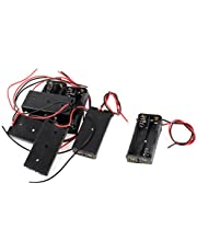 uxcell 7 Pcs Black Red 2-Wire Cable Connectors 2X AAA Battery Box Case Holder