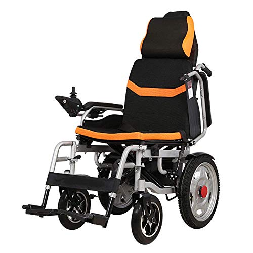 (KPLMⓇ Electric Power Wheelchair, Elderly Disabled Wheelchair, Portable Care 4-Wheel Single Motor Electric Scooter, Load Capacity 100kg, Drive with Electric Power Or Use As Manual,12A~lithiumbattery)