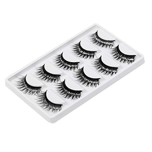 soAR9opeoF Natural Lollipop Handmade,5Pairs Fashion Stage False Eyelashes Glitter Thick Long Natural Lash Extension