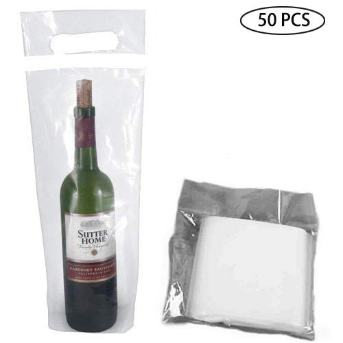 Wine bag, 50 Pcs of wine doggy bag, travel wine transport bag, household clear wine bag, restaurant and bar with wine tamper-proof seal