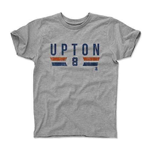 500 LEVEL's Justin Upton Font B Detroit Baseball Kids T-Shirt 6-7Y Heather Gray Officially Licensed by the Major League Baseball Players Association (MLBPA)