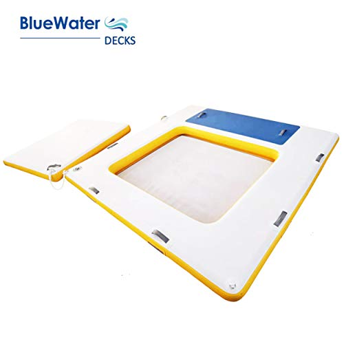 Blue Water Toys New 3 in 1 Floating Swim Platform with Floating Island | Deck Lounge | Raft/Dock | Patent Pending!
