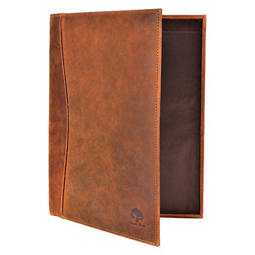 Handmade Leather Luxury Business Portfolio by Rustic Town | Professional Organizer Gift For Men & Women | Durable Leather Padfolio 3 + 1 Sleeves for documents and notepad (Executive Suit Mens Designer)