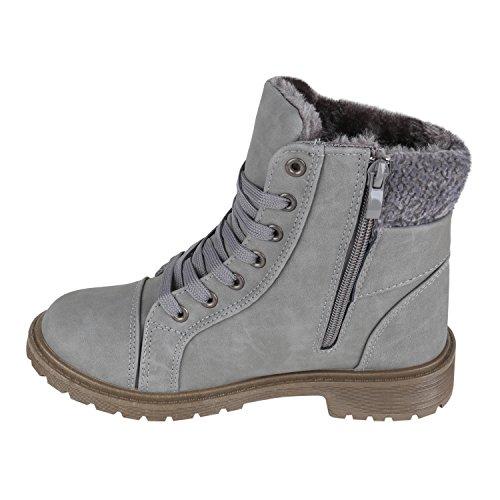 Damen Stiefeletten Outdoor Boots Warm Gefütterte Schnürstiefeletten Schnürschuhe Lack Zipper Profilsohle Winter Schuhe Flandell Grau Bexhill