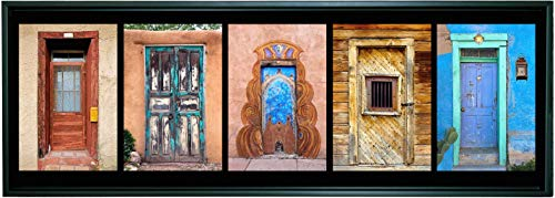 12 X 36 Inch Framed Panoramic Photograph on Canvas of a Group of Colorful Southwest Doors